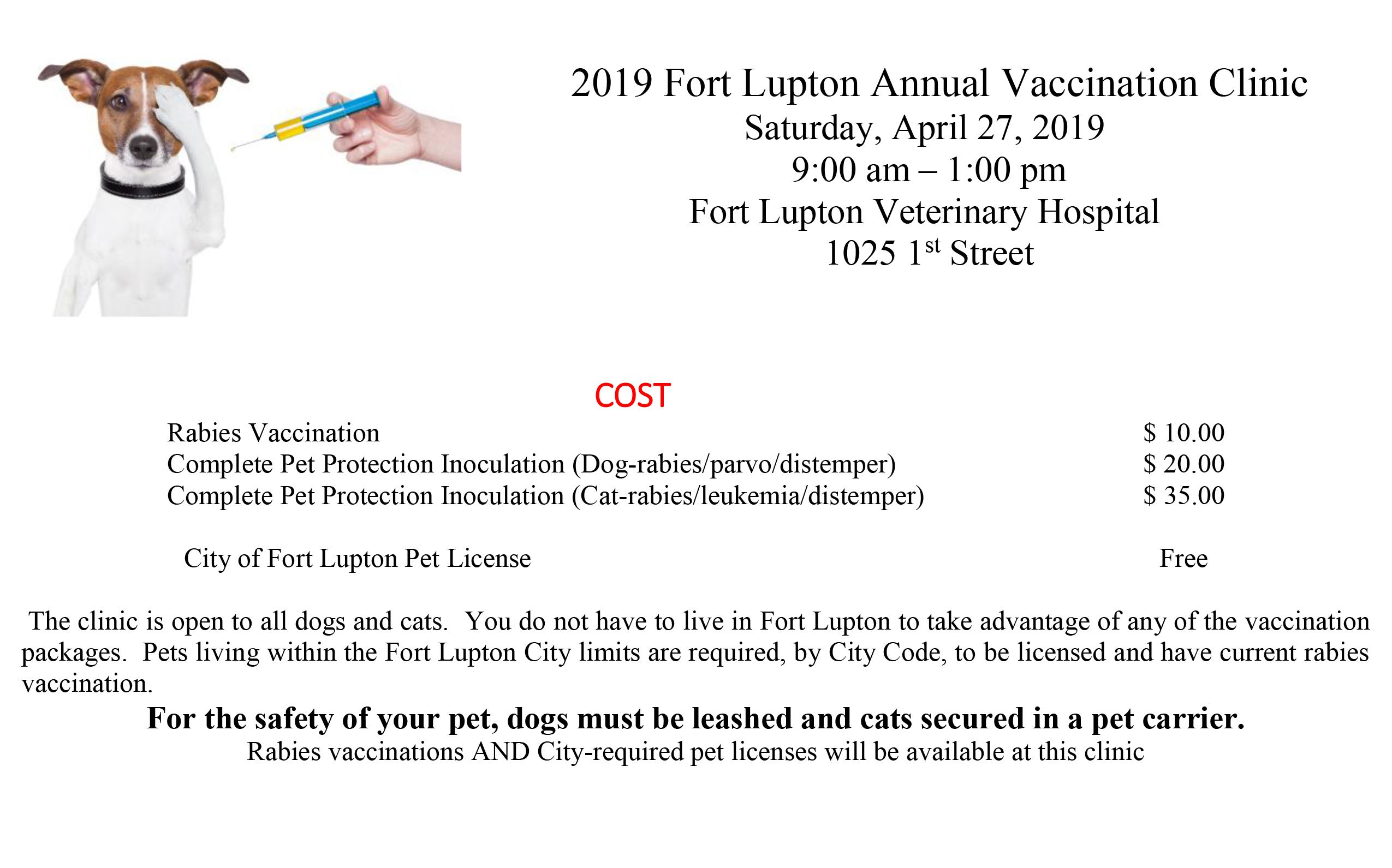 2019 Fort Lupton Annual Vaccination Clinic new one 1up