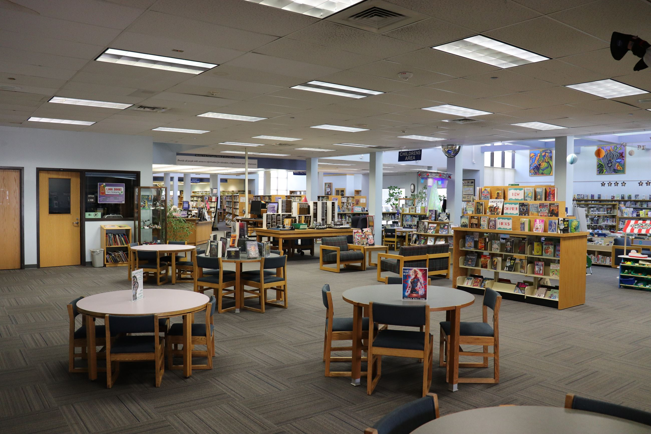 2019 Library Interior with tables, shelves, and books