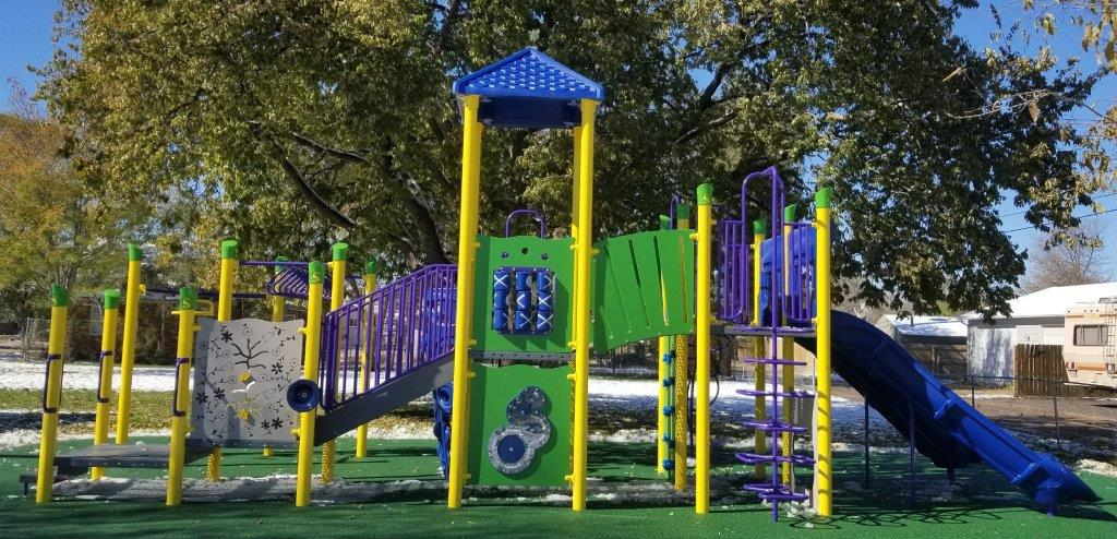 Side view of the playground equipment.